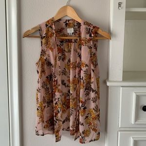 A new day button up sleeveless floral print blouse